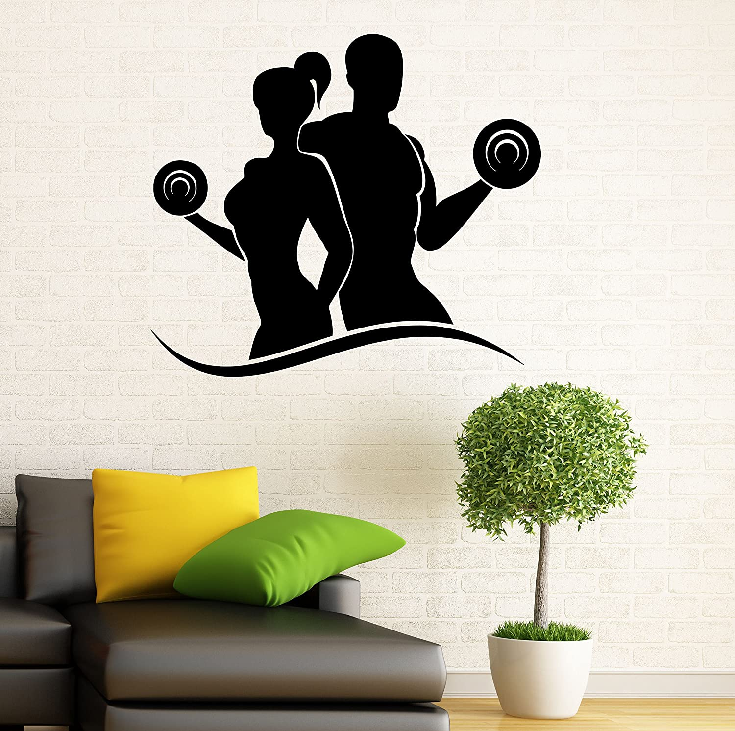 Fitness wall decal gym wall vinyl sticker sport healthy living interior home art wall murals bedroom home decor 2f01s amazon com