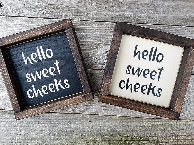 Hello Sweet Cheeks Wood Framed Mini Box Sign