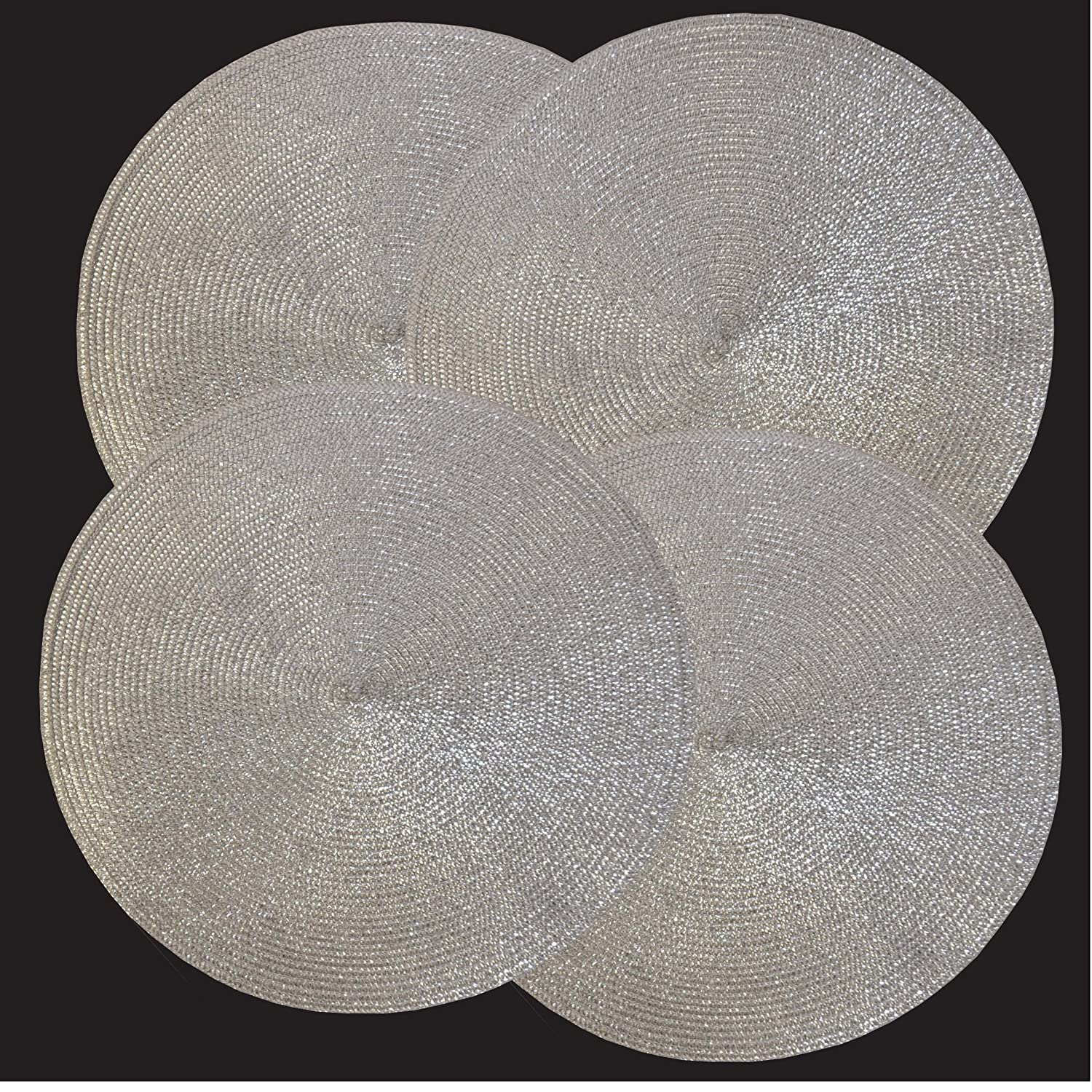 Holiday Shiny Round Table Placemats, Silver/gold Color. #96 006 (Silver):  Home U0026 Kitchen