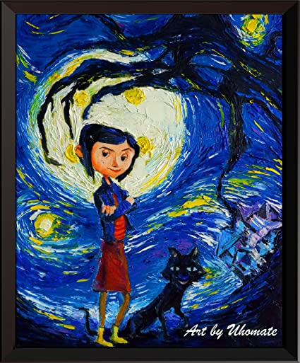 e325c4920850 Uhomate Coraline and Cat Vincent Van Gogh Starry Night Posters Home Canvas  Wall Art Print Poster