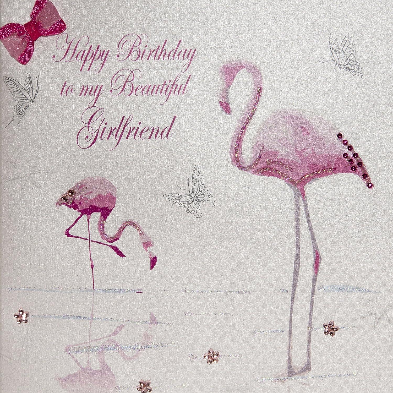 "White Cotton Cards Flamingo s ""Happy Birthday To My Beautiful"