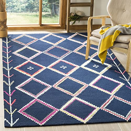 Safavieh Bellagio Collection BLG563N Navy and Multi Premium Wool Area Rug 5 x 8