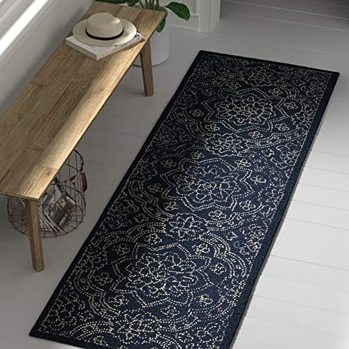 Stone Beam Contemporary Floral Medallion Wool Rug, 2 6 x 8 , Blue on Blue