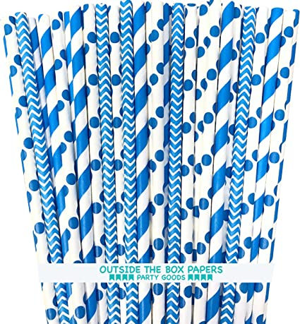 BOFA azul /& blanco lunares papel pajitas 19,7/cm 100/unidades