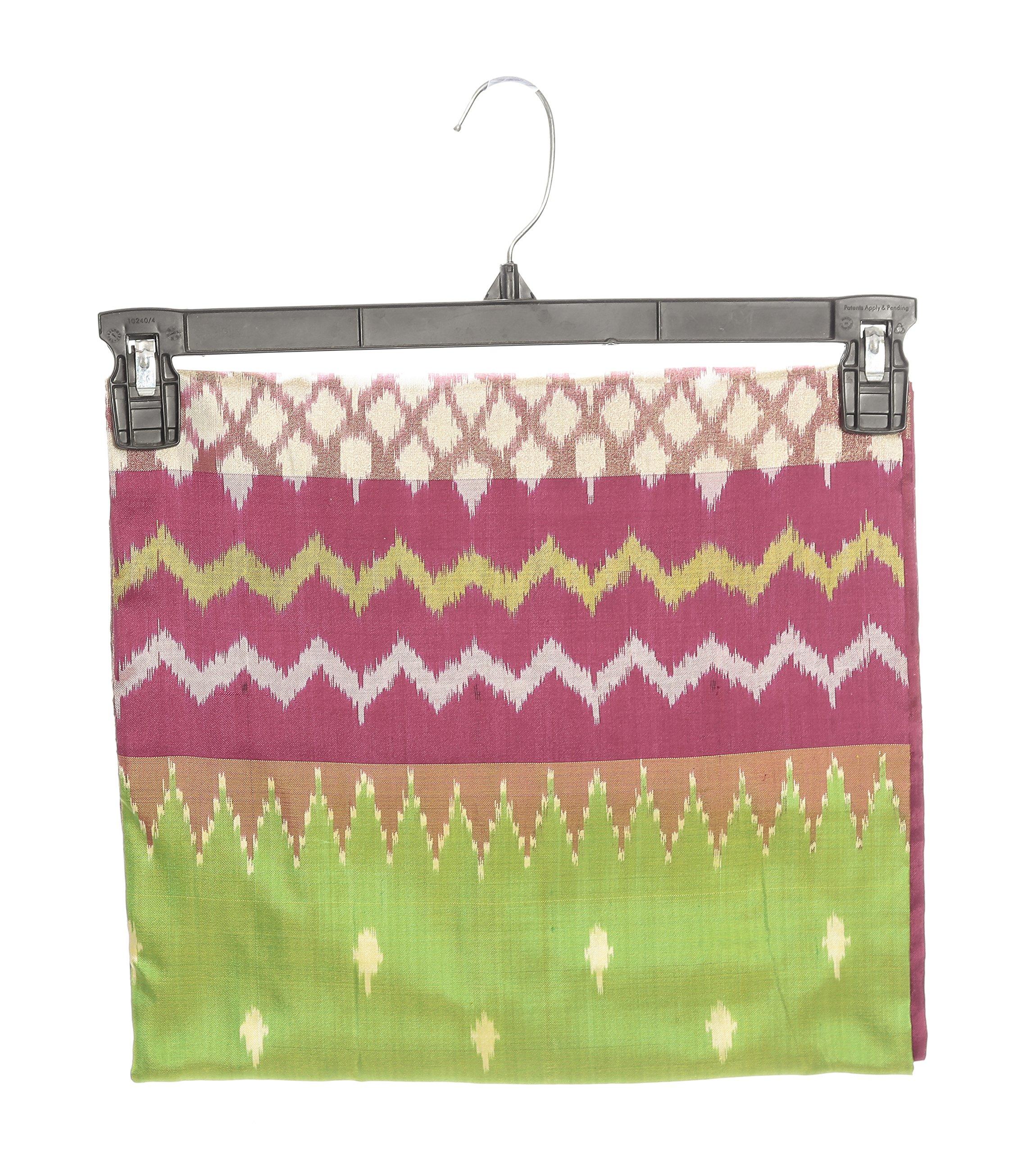 Mandakini — Indian Women's Pochampally - Handloom - Ikat Pure Silk Saree (Pink-Green ) (MK303) by Mandakini (Image #6)
