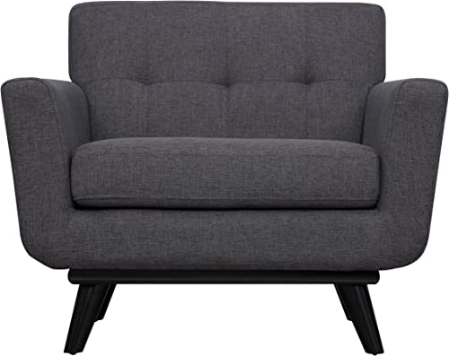 Tov Furniture The James Collection Mid-Century Modern Linen Fabric Upholstered Wood Living Room Accent Arm Chair
