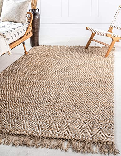 Unique Loom Braided Jute Collection Hand Woven Natural Fibers Natural/Cream Area Rug 6' 0 x 9' 0