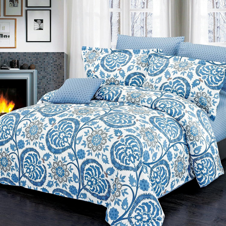 Twin North Home 4 Piece Palmer 100/% Cotton Duvet Cover Set