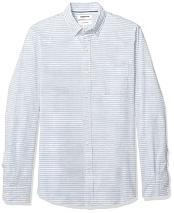 0a80d8f92f09 Goodthreads Men's Slim-Fit Long-Sleeve Pattern Chambray Shirt, Denim Blue  Horizontal Stripe