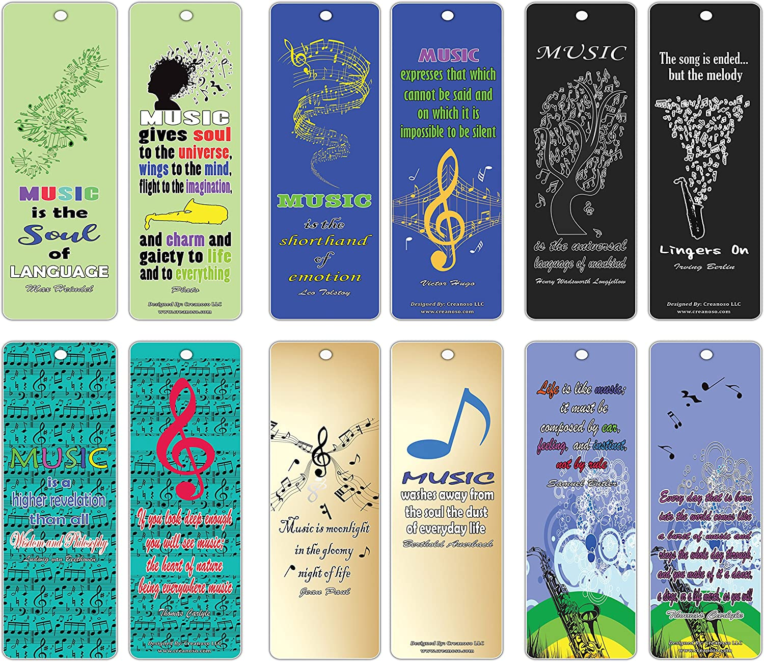 Creanoso Inspirational Music Quotes Bookmarks Series 2 (30-Pack) – Awesome Cool Musical Gifts for Musicians Guitarists Bassist Adult Men Women Teens – Premium Design Book Clippers – Concert Giveaways