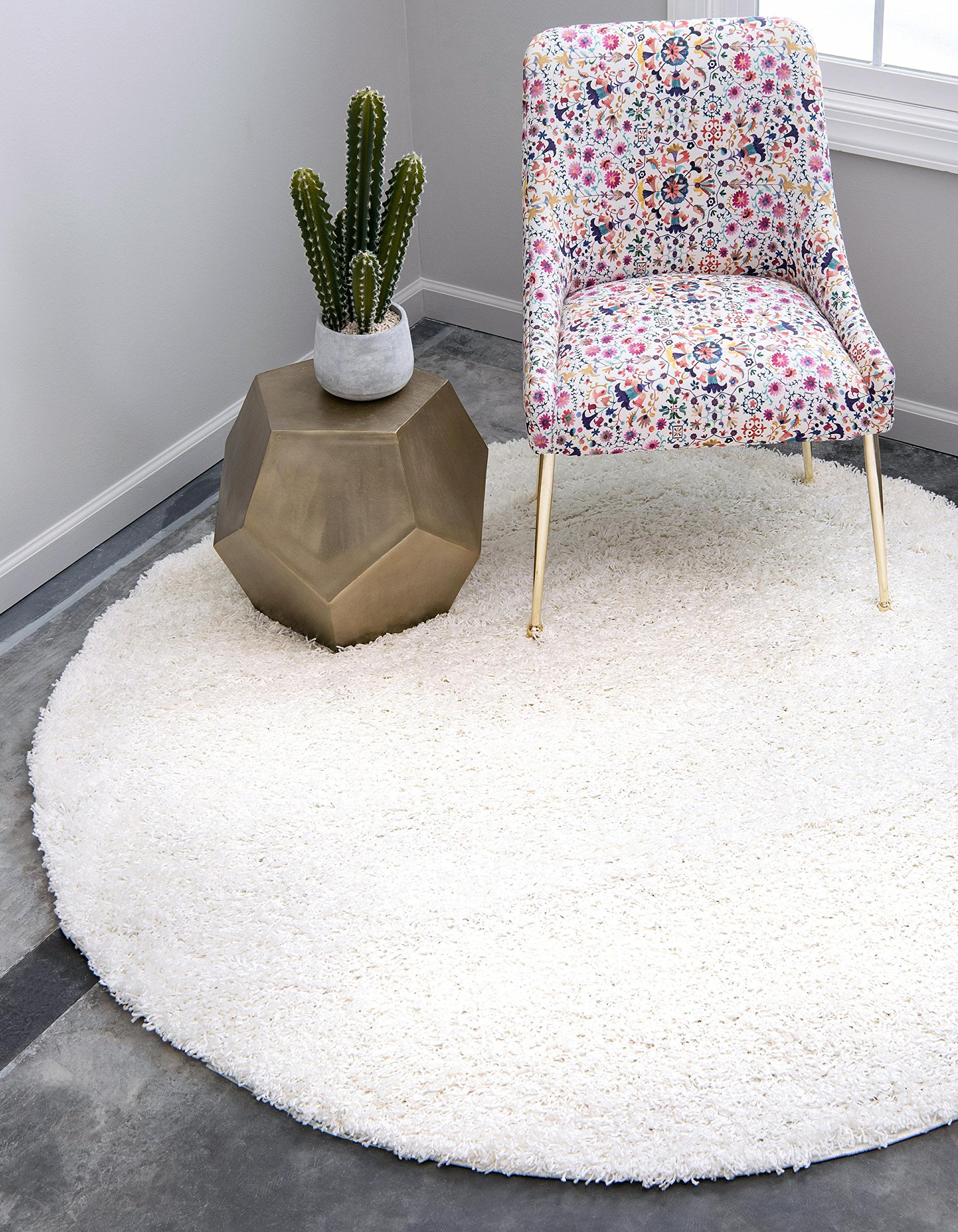 Unique Loom Solo Solid Shag Collection Modern Plush Snow White Round Rug (6' 0 x 6' 0)