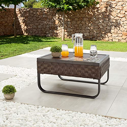 LOKATSE HOME Patio Dining Furniture Outdoor Square Bistro Side Coffee Table