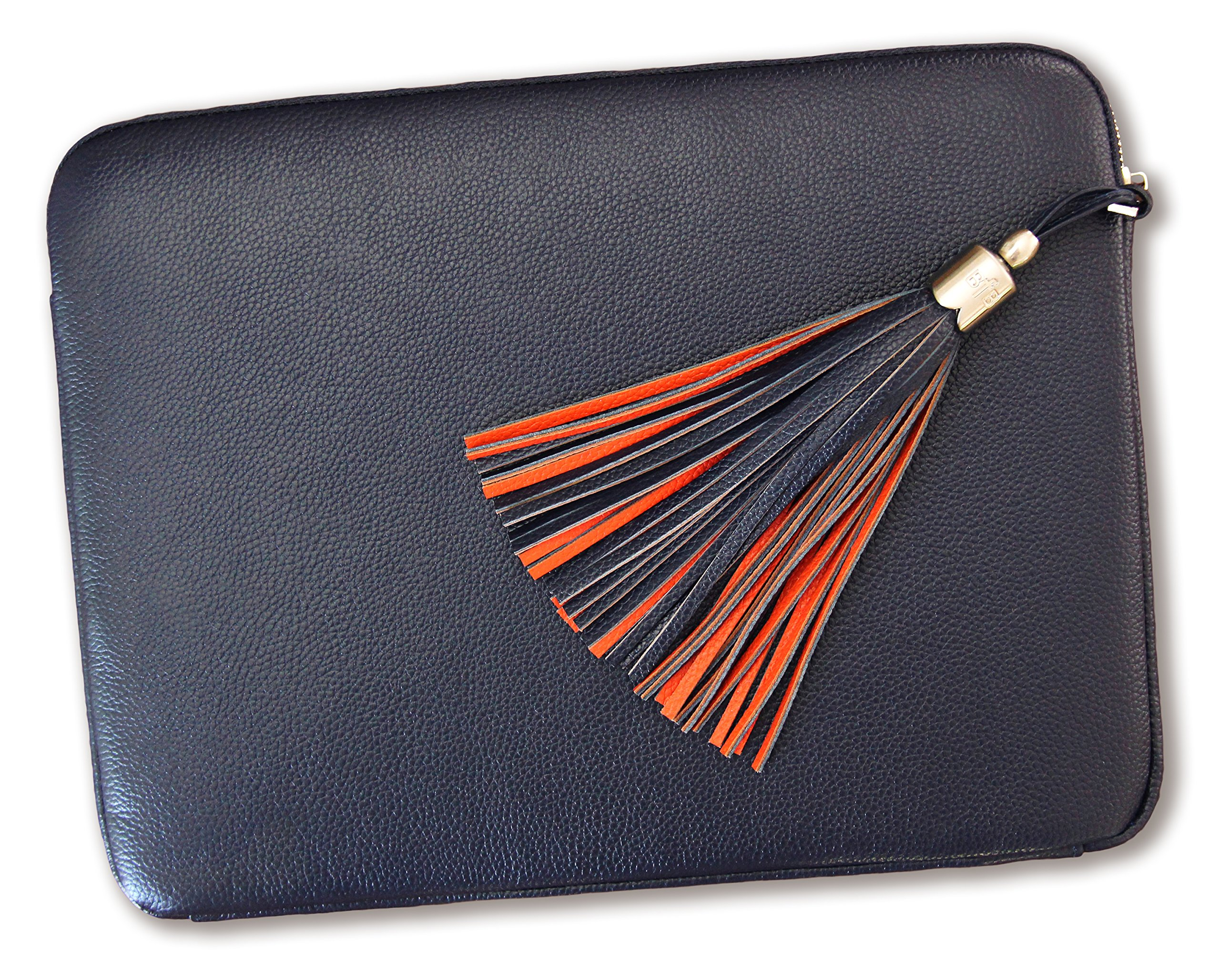 BFB Laptop Sleeve Case Cover – Genuine Leather Compatible 13 inch MacBook Pro or Air – Handmade Beautiful and Practical – Designer Quality That Lasts – Navy