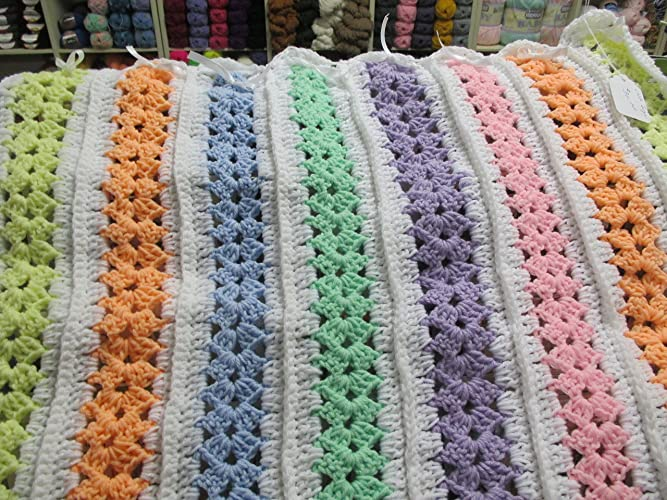Amazon Hand Crocheted Multi Colored Mile A Minute Afghan Handmade