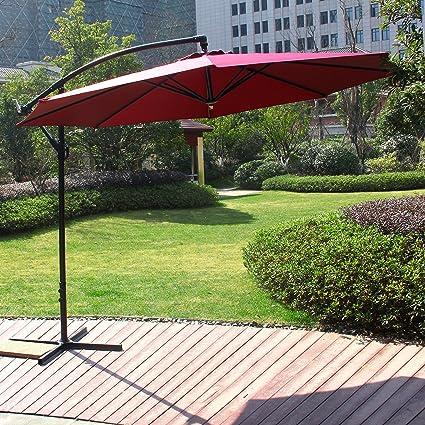 Cloud Mountain 10 Ft Cantilever Patio Umbrella, Beach Umbrella Outdoor UV  Resistant Polyester 8 Steel