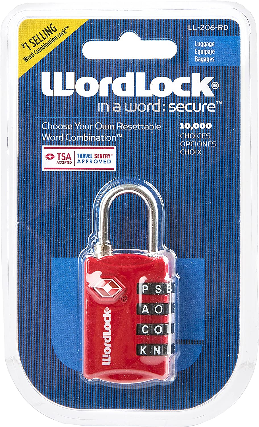 Silver TSA Approved Lock for Luggage by WordLock