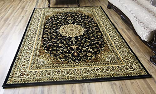 Black Beige Classic Oriental Elegant Medallion Symmetric Design Carpet Soft Rug Rectangle Shape Stain Resistant Area Rug 5 x 8