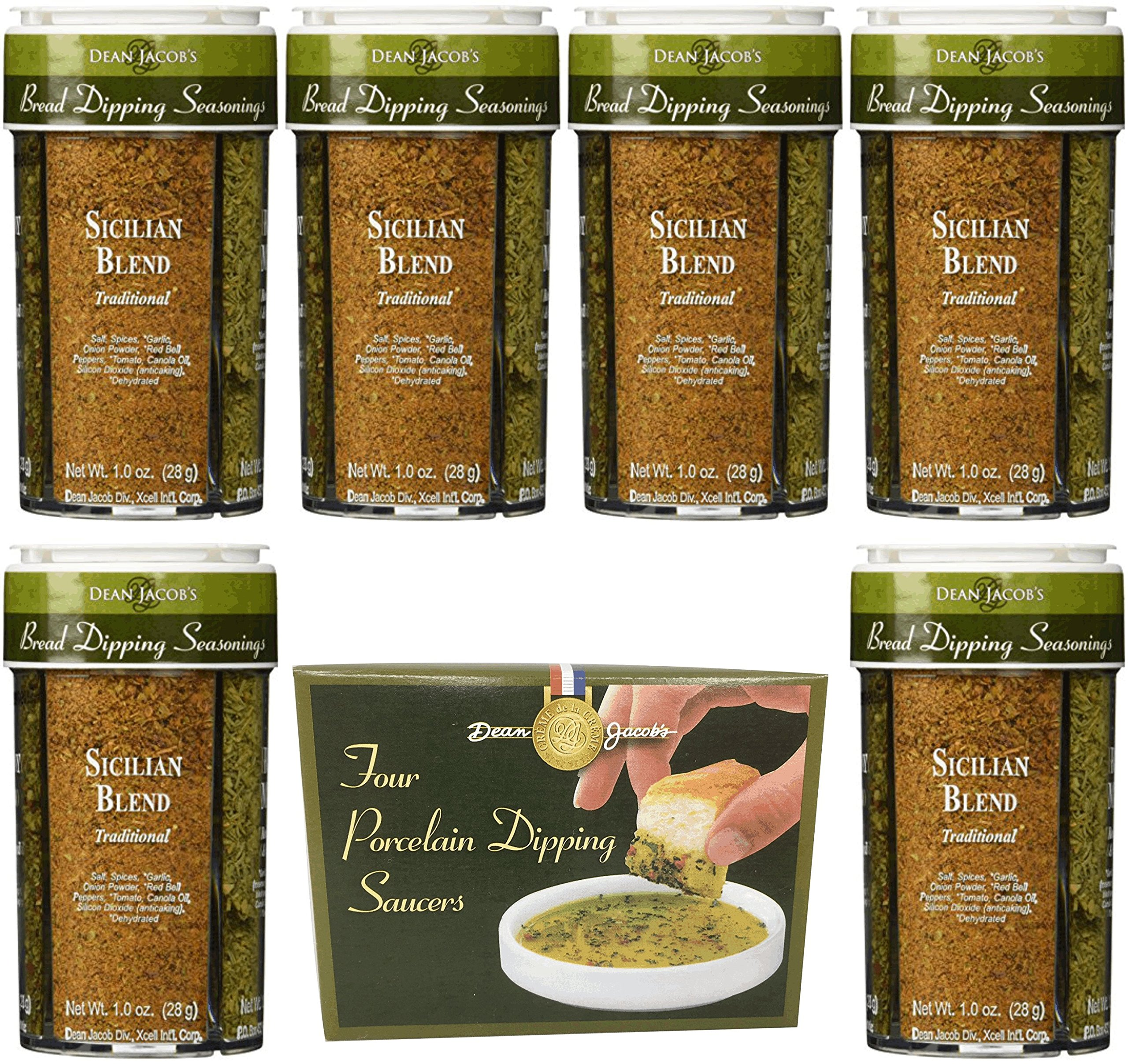 Dean Jacob's Bread Dipping Seasonings 10 piece Set - Includes 1 Set of Porcelain Dipping Saucers in a Decorative Box and 6 Seasoning Jars