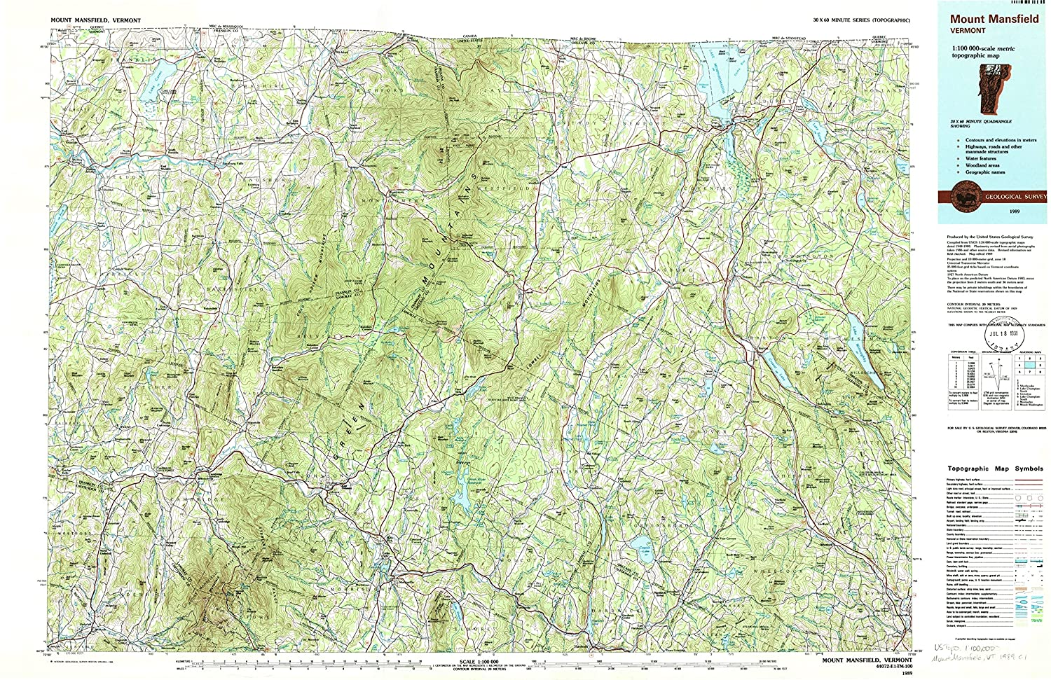 Amazon.com : YellowMaps Mount Mansfield VT topo map, 1:100000 Scale ...