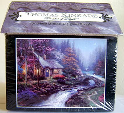 Astounding Thomas Kinkade Twilight Cottage Hutt 100 Piece Miniature Puzzle Home Interior And Landscaping Ologienasavecom