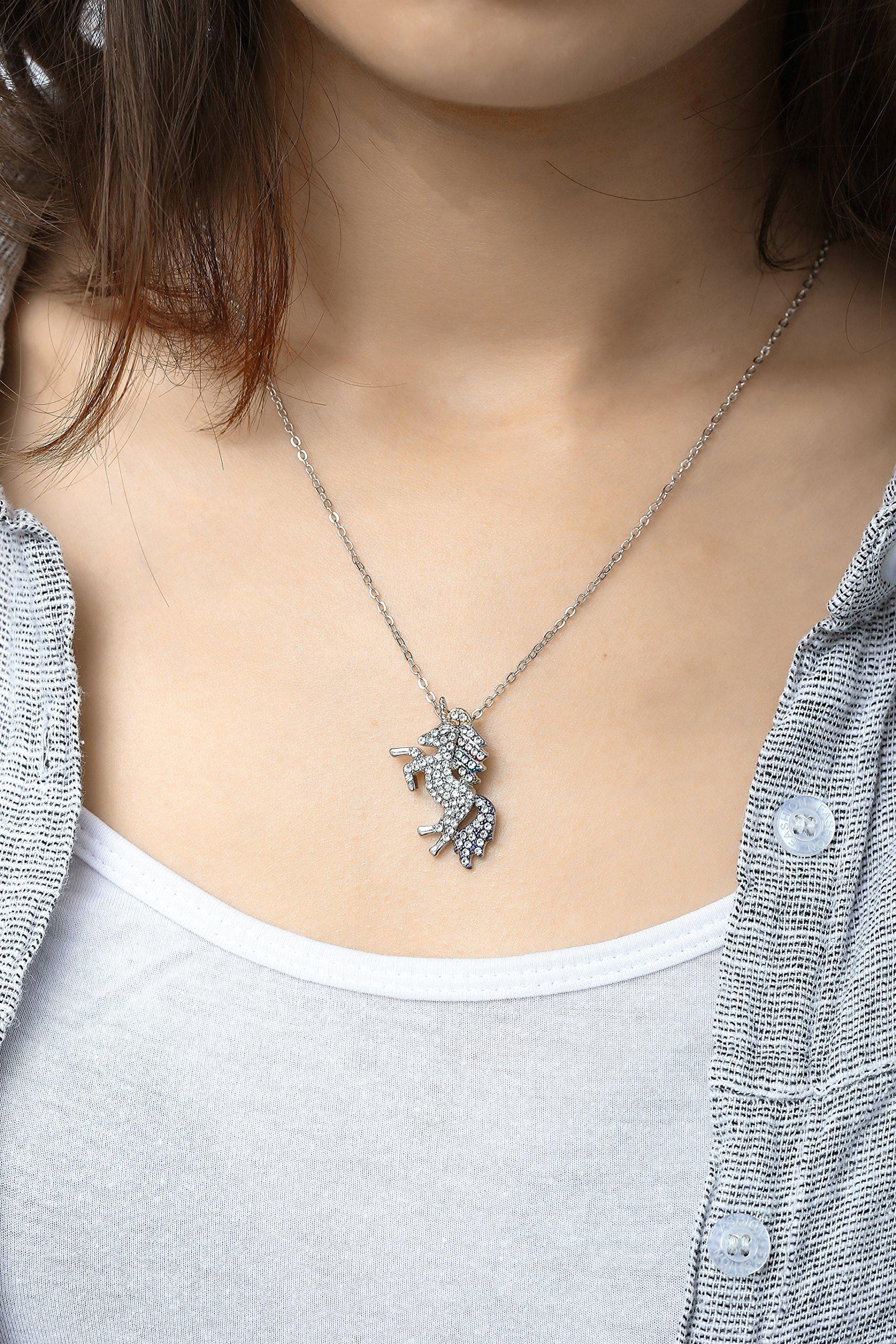 MUHU Fashion Rainbow Rhinestones Unicorn Pendant Necklace 4