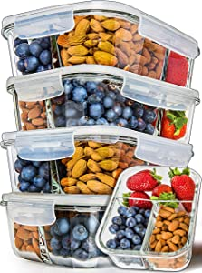 Prep Naturals Glass Meal Prep Containers 3 Compartment 5 Pack - Bento Box Containers Glass Food Storage Containers with Lids - Food Prep Containers Glass Storage Containers with Lids Lunch Containers