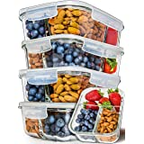 Prep Naturals Glass Meal Prep Containers 3 Compartment 5 Pack - Bento Box Containers Glass Food Storage Containers with Lids
