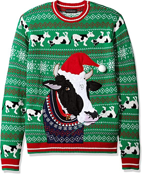 Blizzard Bay Mens Cow Ugly Christmas Sweater Medium At Amazon