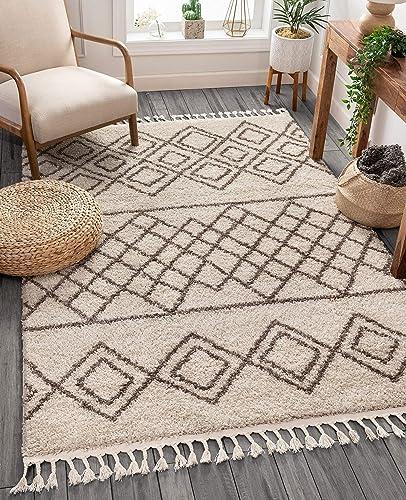 Well Woven Layla Shag Ivory Moroccan Trellis Area Rug 9×13 9 3 x 12 6