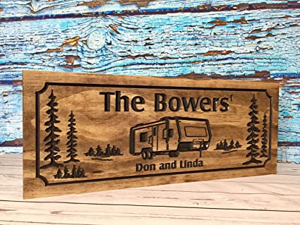 Custom Rv Sign Trailer Park Wooden Printed Signs Camp Signs Address Plaque Trailer Camper Motorhome Motor Coach Airstream Imagine