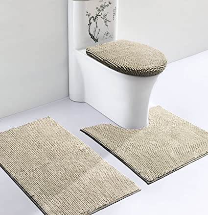 vdomus soft toilet rug 3 pieces set non slip bathroom rugs u shaped - Bathroom Rugs