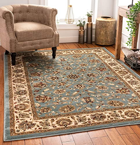 Well Woven Persian Oriental Area Rug Blue 5×7 5'3″ x 7'3″