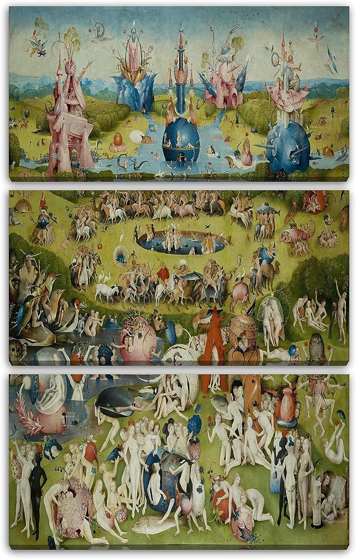 Printed Paintings Impresión sobre Lienzo 3 Partes(80x120cm): Hieronymus Bosch - El jardín de Las: Amazon.es: Hogar