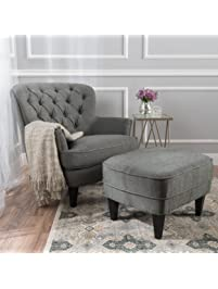 Alfred Grey Fabric Club Chair With Ottoman