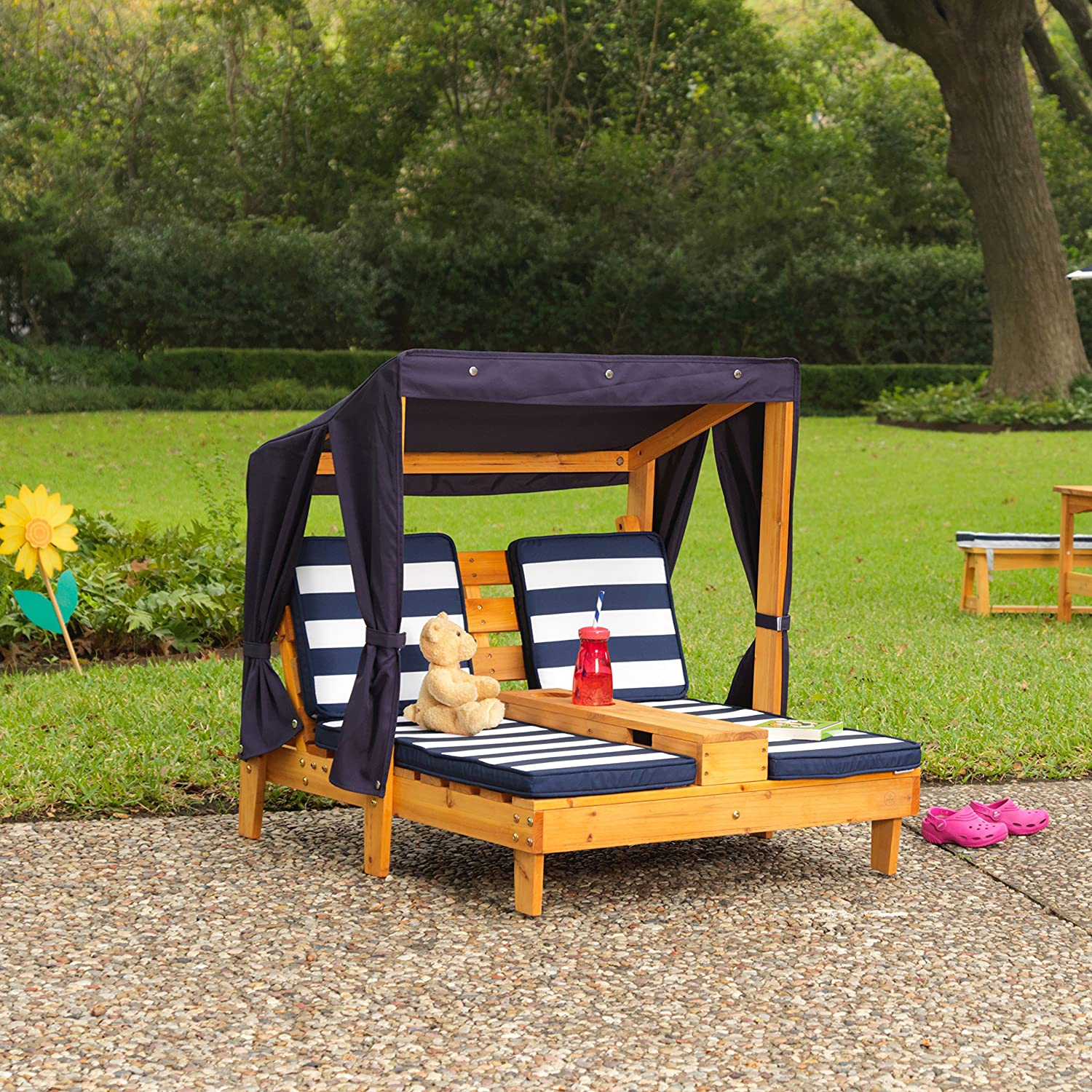 Outdoor Double Chaise Lounge Chair Seat Canopy Kids Children Pool Side Patio