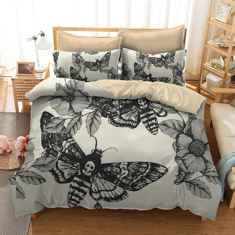 Blooming Flower White Black Moth on Skull Print 3d 3Pcs Bedding Sets Tencel Halloween Duvet Cover Sets Full size (1, Full) JD Beddingin