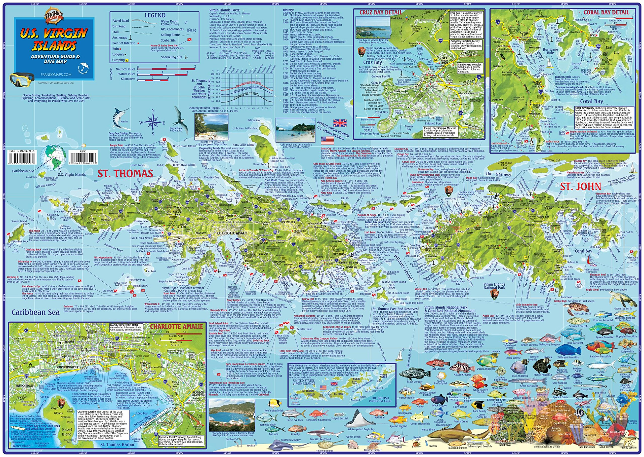 U.S. Virgin Islands Dive & Adventure Guide USVI Dive Map Franko Maps ...