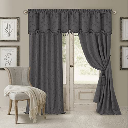 Elrene Home Fashions 26865901092 Blackout Energy Efficient Room Darkening Rod Pocket Window Curtain Drape Regal Jacquard Woven Panel