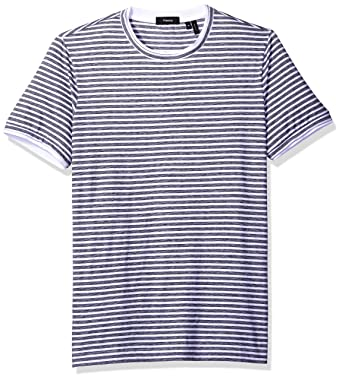 c2f02b38e9 Theory Men's Rylee T Shirt Multi Stripe Short Sleeve Crew, White, Small