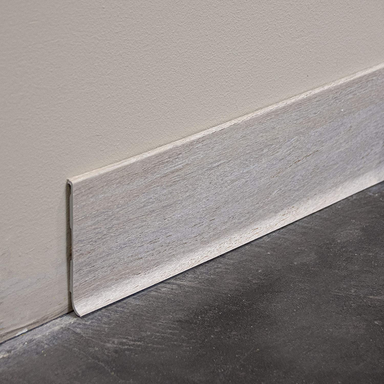 MonMarch/éDeco recouvrement au sol de 1cm Lot de 5 Long.1m x Haut Plinthes PVC Rigide /à L/èvre Anthracite 100mm x Ep.2mm