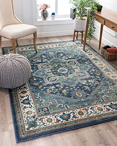 Well Woven Jada Blue Traditional Medallion Area Rug 5×7 5 3 x 7 3
