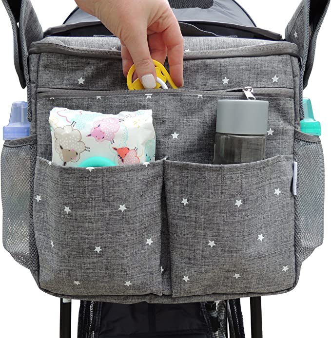 Universal Pram Bag Storage Bag Stroller Hanging Mesh Bag Multi Function Baby Stroller Accessory Convenient Mesh Tuck Net Stroller String Bag with Rainbow Edge 3pcs