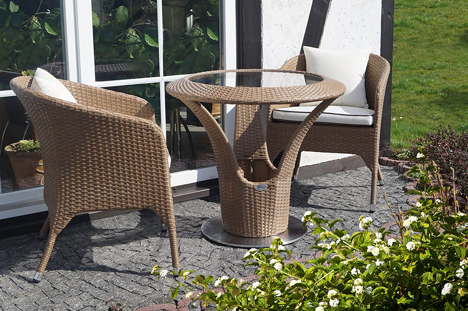 rattan gartenm bel garten balkon bistro set 2 personen runder tisch mit 2x sessel und. Black Bedroom Furniture Sets. Home Design Ideas