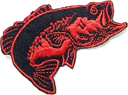 LURE Iron On Patch Sports Fish Fisherman FISHING