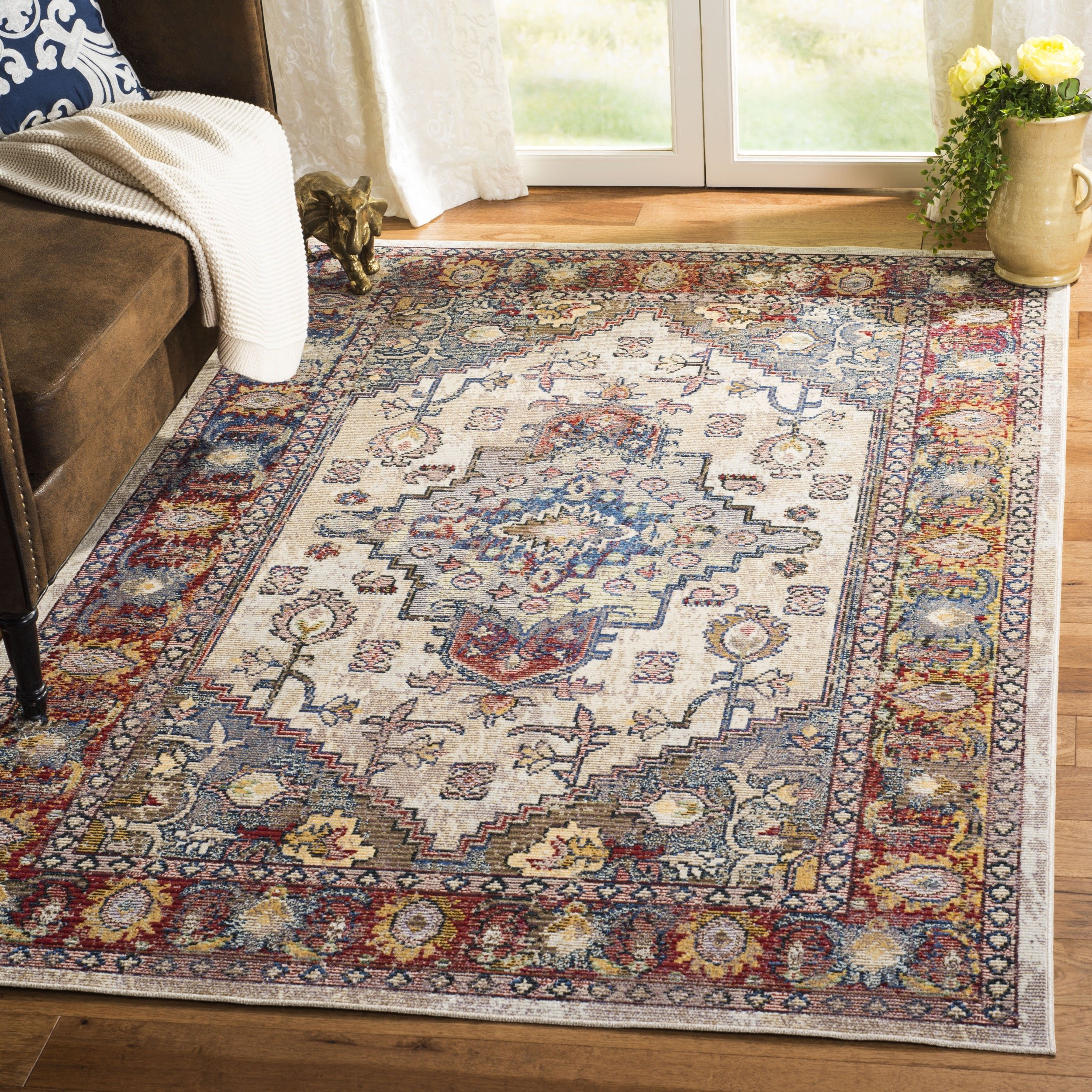 Safavieh Harmony Collection HMY404B Light Grey and Rose Area Rug (8' x 10') by Safavieh
