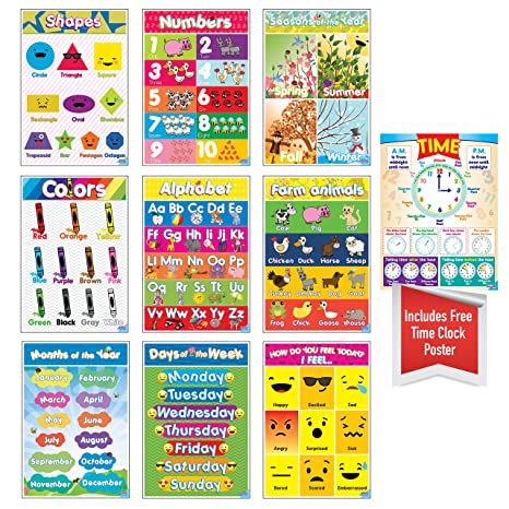 Educational Preschool Posters For Toddlers And Kids Perfect Children Kindergarten Classrooms Teach Alphabet