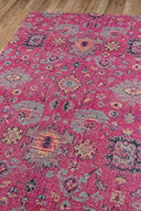 """Momeni Rugs Jewel Traditional Floral Flat Weave Area Rug, 7'10"""" x 9'10"""", Pink"""