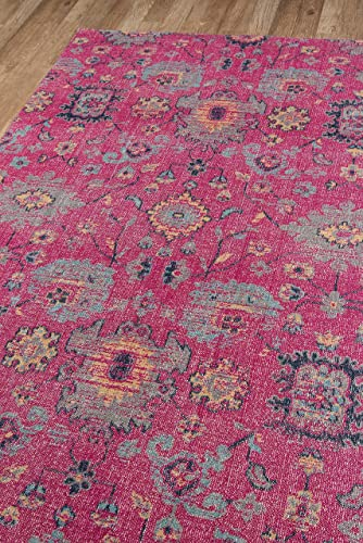 Momeni Rugs Jewel Traditional Floral Flat Weave Area Rug, 7 10 x 9 10 , Pink