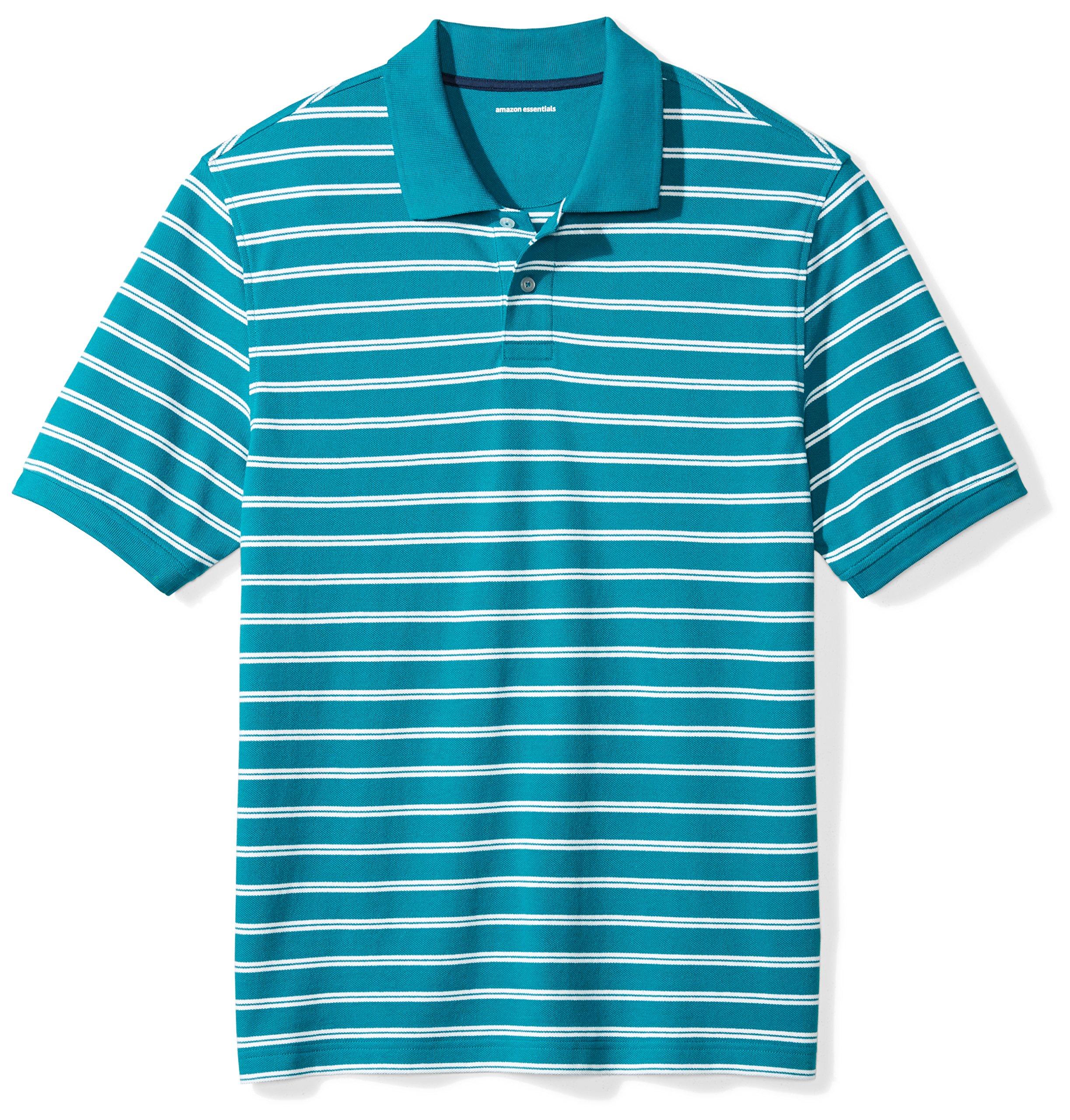 Amazon Essentials Men's Regular-Fit Striped Cotton Pique Polo Shirt, Teal Stripe, X-Large