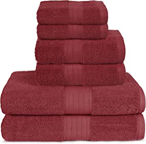 Glamburg 6 Piece Towel Set, 100% Combed Cotton - 2 Bath Towels, 2 Hand Towels, 2 Wash Cloths - 600 GSM Luxury Hotel Quality Ultra Soft Highly Absorbent Towel Set for Bathroom - Burgundy